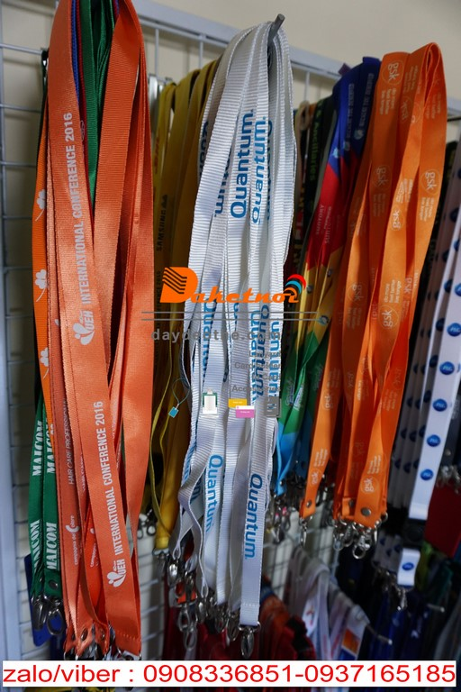 dây đeo thẻ satanh in logo nhiều màu dây nylon in nhiệt chìm nổi hội nghị event , dây đeo thẻ văn phòng cao cấp