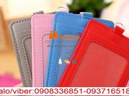 Bao chứa thẻ dapu màu tím xanh dương xanh lá đỏ 2 túi www.lanyardgift.com