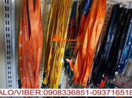 dây đeo thẻ màu cam IVS NYLON in nhiệt chìm 2cm ,dây đeo thẻ DHL in nhiệt cao su nổi