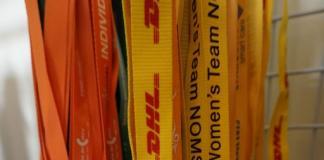 dây đeo thẻ màu cam IVS NYLON in nhiệt chìm 2cm ,dây đeo thẻ DHL in nhiệt cao su nổi , dây satanh GSK in nhiệt chìm 2 mặt