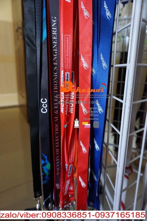 Dây đeo thẻ màu đỏ KTG ,LOTTE ,US CONSULATE, PSTC ,COLGATE ,HONDA,HUAWEI,PERFECT VN