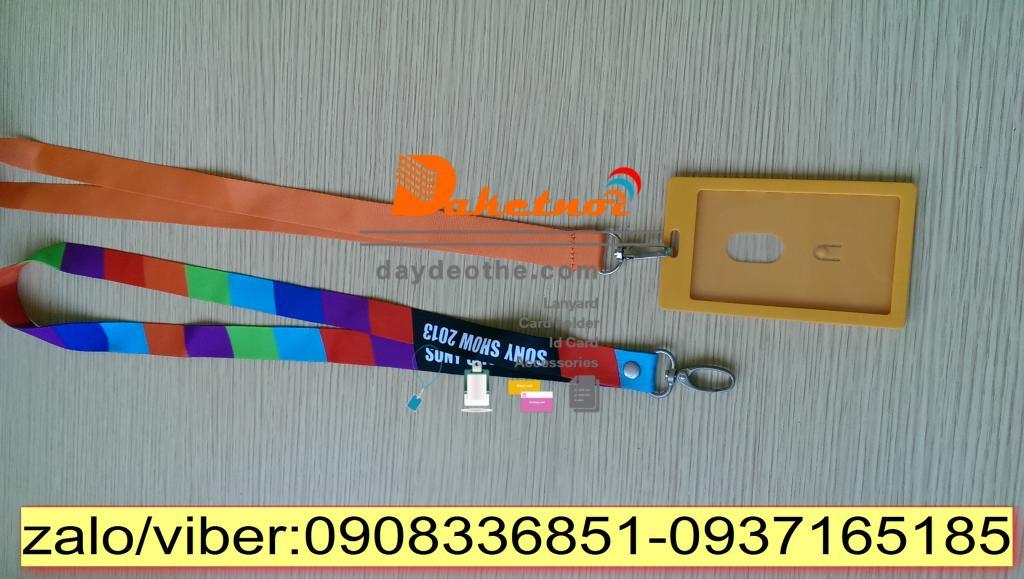dây đeo thẻ nguyên bộ màu cam
