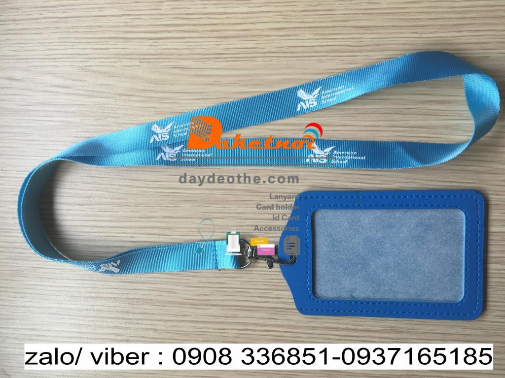 dây đeo thẻ màu  xanh dương in 1 màu  1 mặt - bao thẻ  da pu xanh dương nguyên bộ