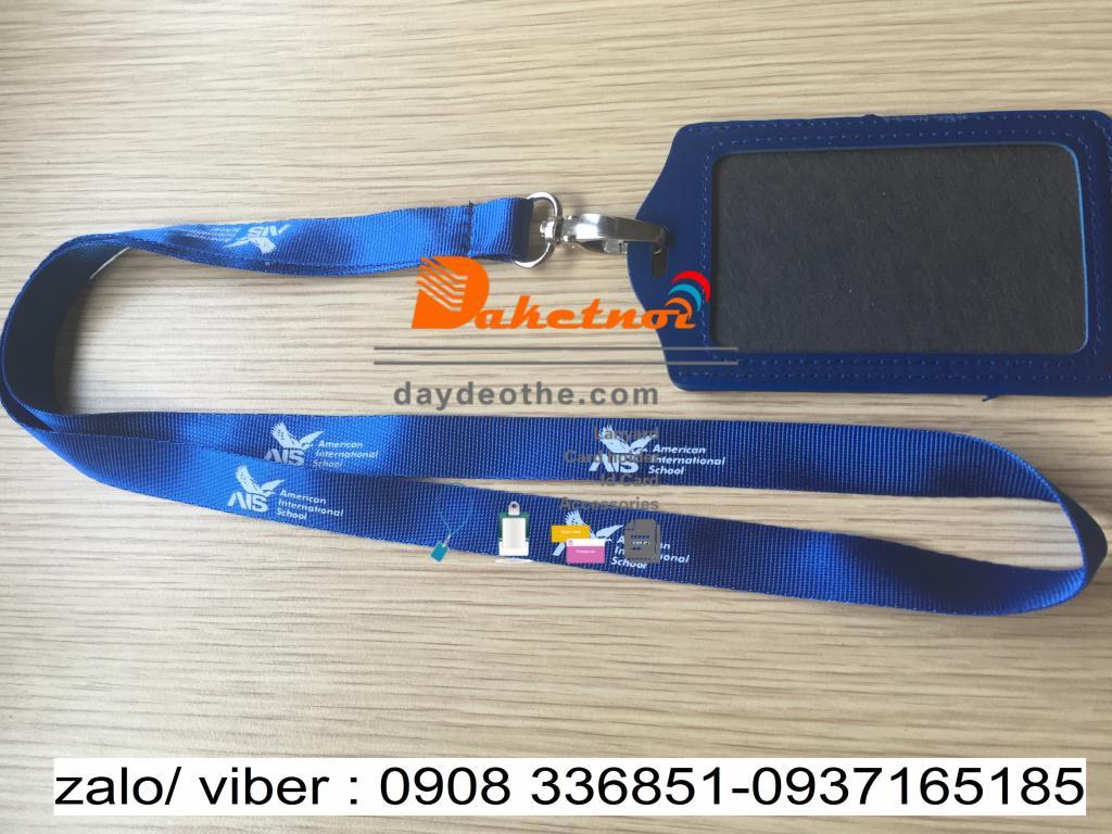dây đeo thẻ xanh dương in lụa 1 màu 1 mặt