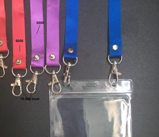 dây đeo thẻ 2 dầu móc in logo , dây đeo thẻ trơn 2 móc