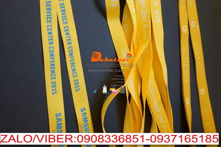 dây đeo thẻ màu vàng samsung in lụa màu xanh