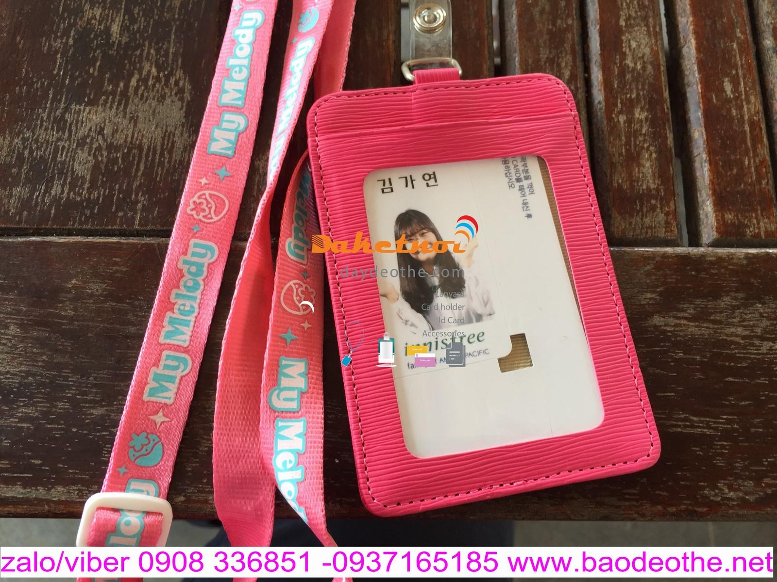Bao đeo thẻ màu  hồng  phấn da pu dọc hay ngang