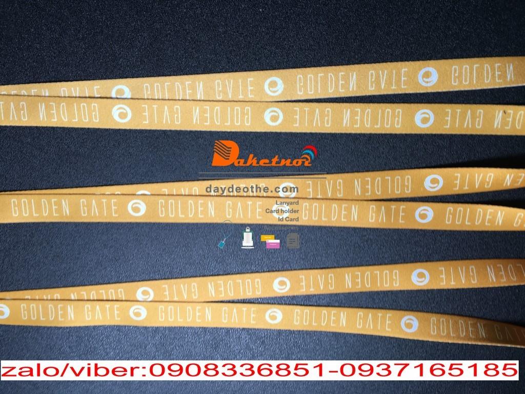 Dây đeo thẻ golden gate satanh in nhiệt màu vàng 1.5cm