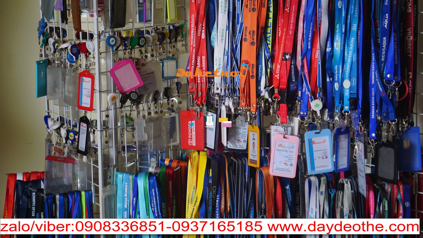 dây đeo thẻ poly nylon cao cấp , in nhiệt chìm , in cao su nổi